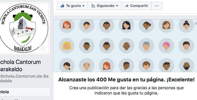 400 me gusta en Facebook