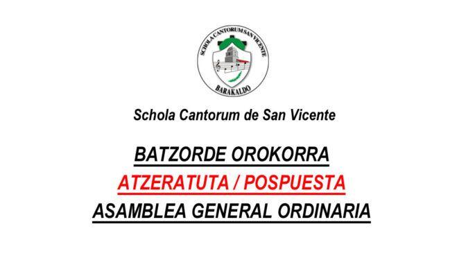 Asamblea General Pospuesta – 2021- Batzorde OrokorraAtzeratuta