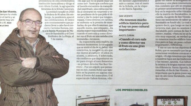 Entrevista a Patxi Rubio en El Correo